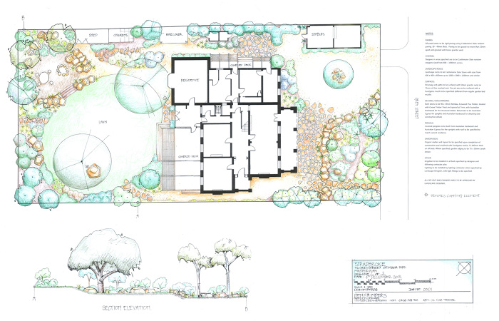 Master Plan Drawing For Proposed Garden Landscape Design Including Elevation And Designers Notes